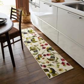木苺柄のキッチンマット