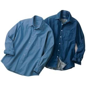 ベルーナ 【2色組】スマートデニムシャツ ブルー/青 S メンズ