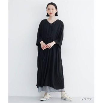 メルロー コットンリネンVネックガウンワンピース レディース ブラック FREE 【merlot】