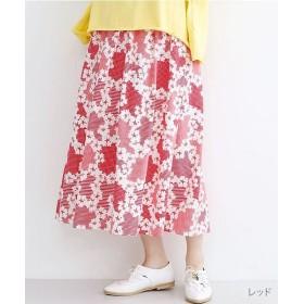 【40%OFF】 メルロー お花チェック柄ウエストパイピングスカート レディース レッド FREE 【merlot】 【セール開催中】