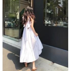 韓国 ファッション レディース ワンピース マキシワンピ ロング リボン 大きいサイズ フレア バックシャン セクシー リゾート 海 夏 オル