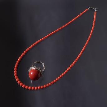 約17.7mm血赤サンゴPtダイヤリング+胡渡サンゴネックレス