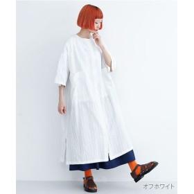 メルロー ストライプ柄バックオープンシャツワンピース レディース オフホワイト FREE 【merlot】