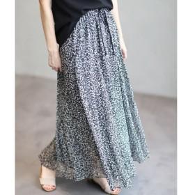 INED / 《Maison de Beige》モノトーンフラワー柄シースルースカート