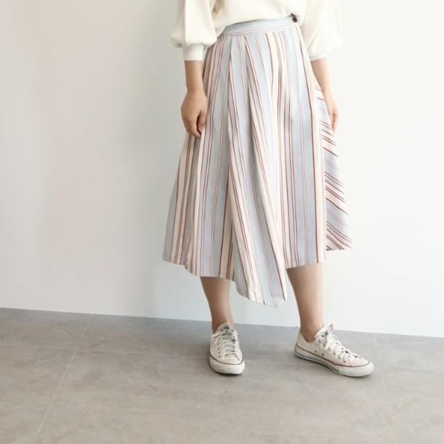 [マルイ]【セール】[洗える]マルチストライプ切替フレアスカート/オゾック(OZOC)