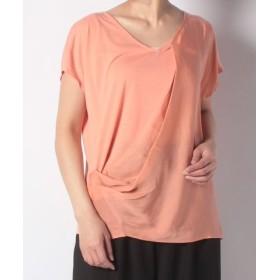 (alcali/アルカリ)【alcali】T/R天竺ドレープアシメントリーTシャツ/レディース ピンクオレンジ