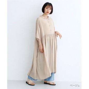 メルロー ウエスト切替ギャザーシャツワンピース レディース ベージュ FREE 【merlot】
