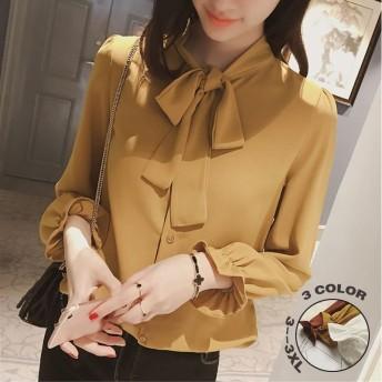【SGTC】野生の緩い蝶ネクタイレースシフォンシャツ女性の長袖の2019春と秋のランタンスリーブシャツ