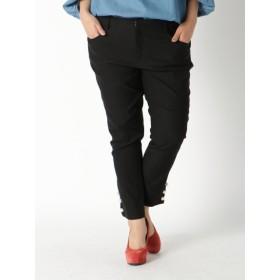 【大きいサイズレディース】【3-5L】裾ボタンデザインスキニーパンツ パンツ スキニーパンツ