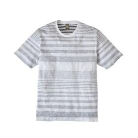 スラブ天竺バックプリントボーダー半袖Tシャツ Tシャツ・カットソー