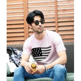 (JIGGYS SHOP/ジギーズショップ)サガラ刺繍VネックTシャツ/Tシャツ メンズ ティーシャツ 半袖 Vネック 刺繍/メンズ ピンク 送料無料