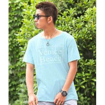 (LUXSTYLE/ラグスタイル)ボックスプリントカットオフ半袖Tシャツ/Tシャツ メンズ 半袖 ボックス プリント カットオフ/メンズ サックス