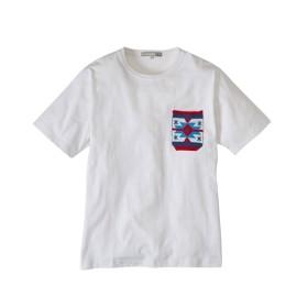 プリント入りニットポケット付き半袖Tシャツ Tシャツ・カットソー