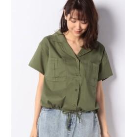 (RETRO GIRL/レトロガール)ツイルドロストシャツ/レディース ダークグリーン