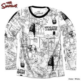 シンプソンズ ロンT Tシャツ メンズ 総柄 長袖 THE SIMPSONS キャラクター グッズ 派手 ザシンプソンズ ホワイト 白