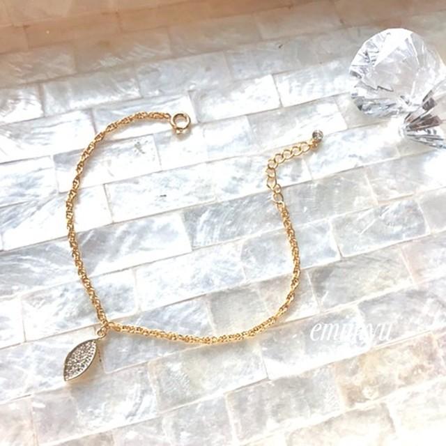 Zirconia Leaf Chain Bracelet