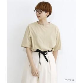 メルロー ラウンドヘムオーバーサイズTシャツ レディース ベージュ FREE 【merlot】