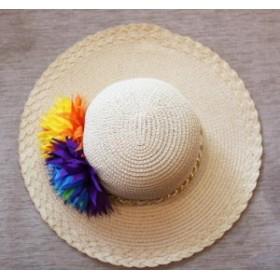 麦わら帽子 子供キッズ レディース ストローハット つば広帽 ハット 帽子 日よけ UVカット ママ娘 親子ペア 小顔効果 紫外線対策 ビーチ