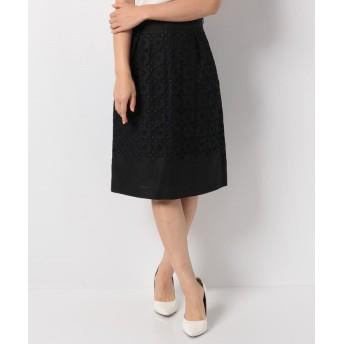 アナイ リネン刺繍ハイウエストスカート レディース ブラック 36 【ANAYI】