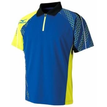 卓球 ウェア ミズノ ゲームシャツ サーフブルー×ライムグリーン メンズ 82JA6003 25