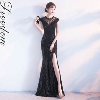 セール 大きいサイズ ドレス★キラキラスパンコール刺繍セクシーディープスリットロングドレス★XS S M L 2L 3L 4L サイズ yoro606