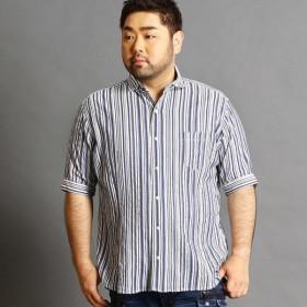 [マルイ]【セール】<大きいサイズ>五分袖ホリゾンタルカラーシャツ/ハイダウェイ(大きいサイズ)(HIDEAWAYS)