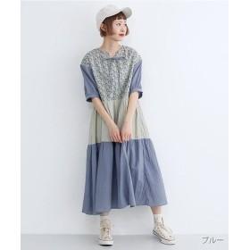 メルロー 小花柄3段切り替えギャザースカート レディース ブルー FREE 【merlot】