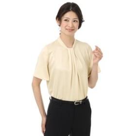 【洋服の青山:トップス】【半袖】【ボウタイ】ソフトブラウス