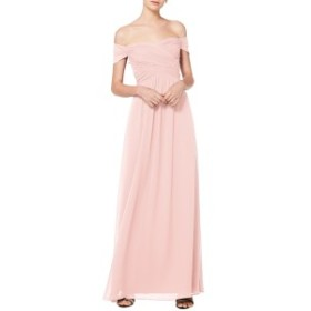 レブコフ レディース ワンピース トップス #Levkoff Off the Shoulder Ruched Bodice Chiffon Evening Dress Petal Pink