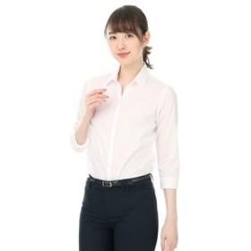 【洋服の青山:トップス】【7分袖】【織柄】【スキッパーカラー】ブラウス