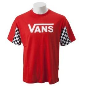 【VANSウェア】Checker Sleeve S/S T-Shirt ヴァンズ ショートスリーブTシャツ VA19SS-MT17 RED L