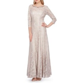 タハリ レディース ワンピース トップス Tahari Embellished Lace Gown Champagne Gold