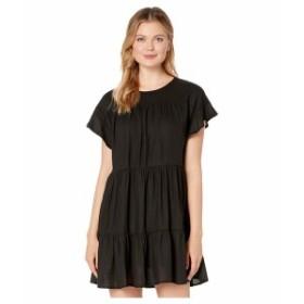 アメリカンローズ レディース ワンピース トップス Sara Short Sleeve Ruffle Dress Black