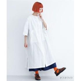 (merlot/メルロー)ストライプ柄バックオープンシャツワンピース/レディース オフホワイト