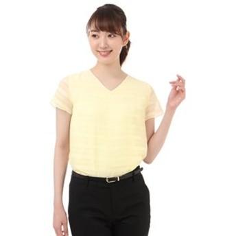【洋服の青山:トップス】【半袖】【Vネック】ソフトブラウス