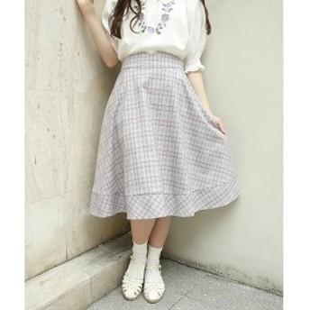 フィント(FINT)/裾切替チェックフレアースカート/F i.n.t