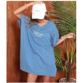 【45%OFF】 アナップ California刺繍Tシャツ レディース ブルー F 【ANAP】 【タイムセール開催中】