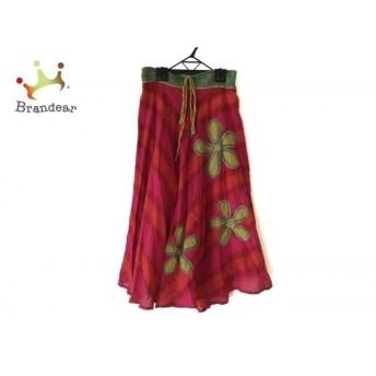 ホコモモラ JOCOMOMOLA ロングスカート サイズ40 XL レディース 美品 ピンク×レッド×マルチ スペシャル特価 20190919