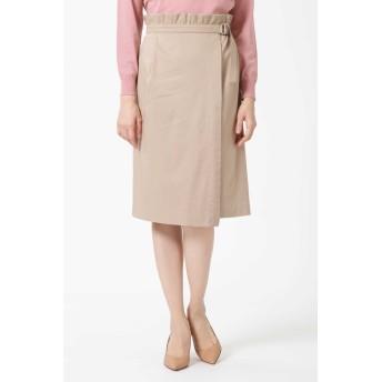 NATURAL BEAUTY アシンメトリータックラップスカート ひざ丈スカート,ベージュ2