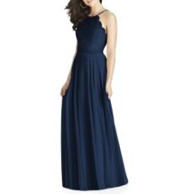 ドレッシーコレクション レディース ワンピース トップス Dessy Collection Lace & Chiffon Halter Gown Midnight