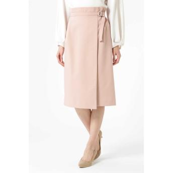 NATURAL BEAUTY アシンメトリーラップタイトスカート ひざ丈スカート,ピンク