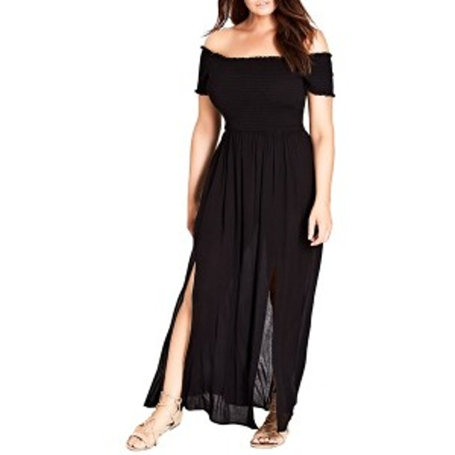 シティーシック レディース ワンピース トップス City Chic Smocked Off the Shoulder Maxi Dress (Plus Size) Black
