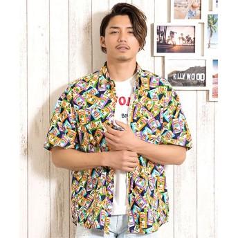 シルバーバレット CavariA日本製ポテトチップス柄ワイド半袖シャツ メンズ ネイビー 46(L) 【SILVER BULLET】