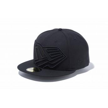 【ニューエラ公式】 59FIFTY ビッグフラッグロゴ ブラック × ブラック メンズ レディース 7 1/2 (59.6cm) キャップ 帽子 12082904 NEW ERA