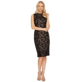アドリアナ パペル レディース ワンピース トップス Lace Mock Neck Sheath Dress Black