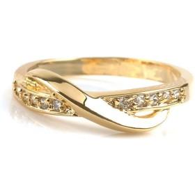 クリームドット 手元を美しく魅せてくれる、華奢ラインのクロスリング レディース ゴールド 17号 【cream dot】