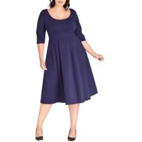 シティーシック レディース ワンピース トップス City Chic Scoop Neck A-Line Dress (Plus Size) Navy