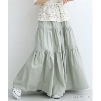 (merlot/メルロー)ベルト付コットンティアードスカート/レディース ライトグリーン