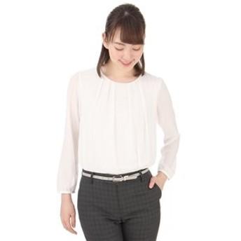 【洋服の青山:トップス】【長袖】【ブレードタック】ソフトブラウス