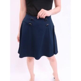 ボタンデザインフレアスカート 紺 レディース A-ランク M